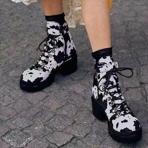 Free People  Printed Check Lace - Up Boot